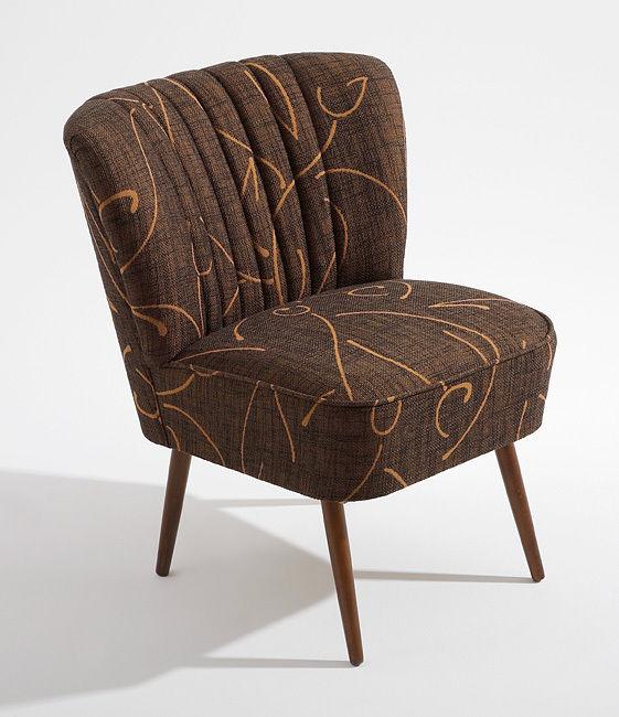 cocktailsessel 50er retrosessel muster braun beine dunkel. Black Bedroom Furniture Sets. Home Design Ideas