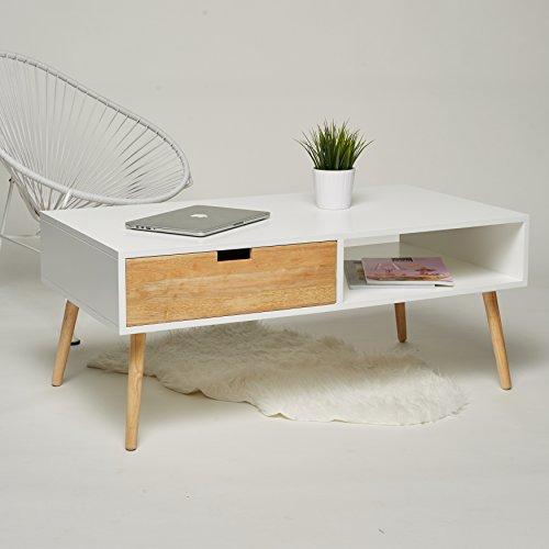 couchtisch lowboard tv tisch wei natur mit 2 schubladen wohnzimmertisch beistelltisch retro. Black Bedroom Furniture Sets. Home Design Ideas