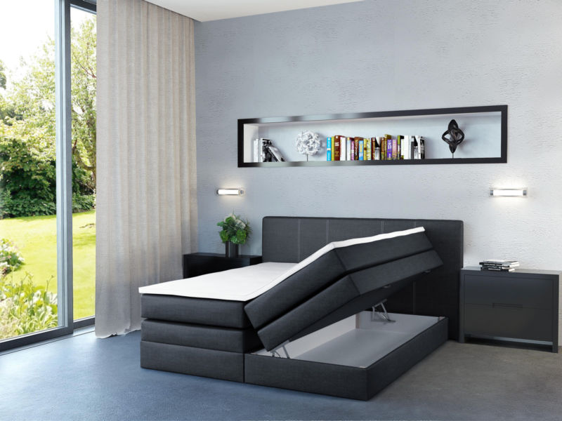 design boxspringbett bett hotelbett ehebett doppelbett schwarz 180 200 retro stuhl. Black Bedroom Furniture Sets. Home Design Ideas