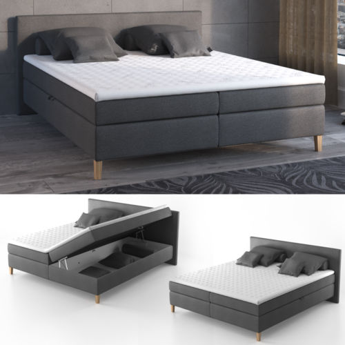 design boxspringbett bett hotelbett ehebett doppelbett anthrazit 180 200 cm retro stuhl. Black Bedroom Furniture Sets. Home Design Ideas