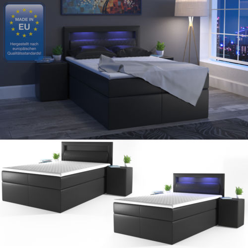 design boxspringbett led doppelbett bett hotelbett pu leder 140x200 cm schwarz retro stuhl. Black Bedroom Furniture Sets. Home Design Ideas