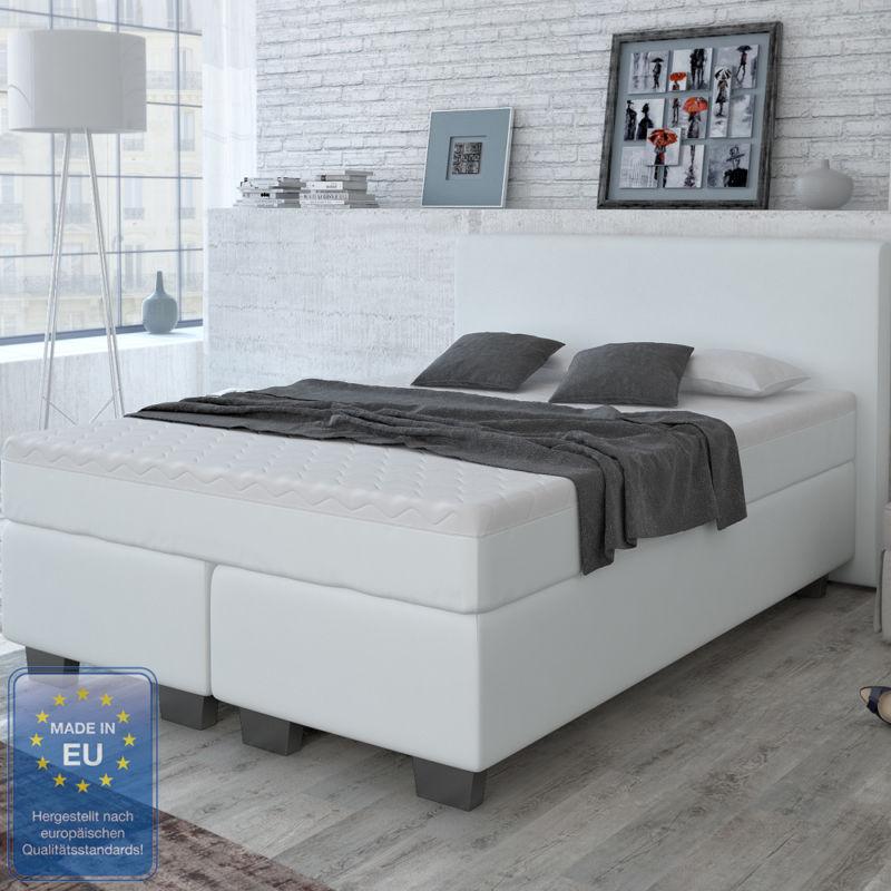 designer boxspringbett bett hotelbett doppelbett kunstleder wei 140x200 cm retro stuhl. Black Bedroom Furniture Sets. Home Design Ideas