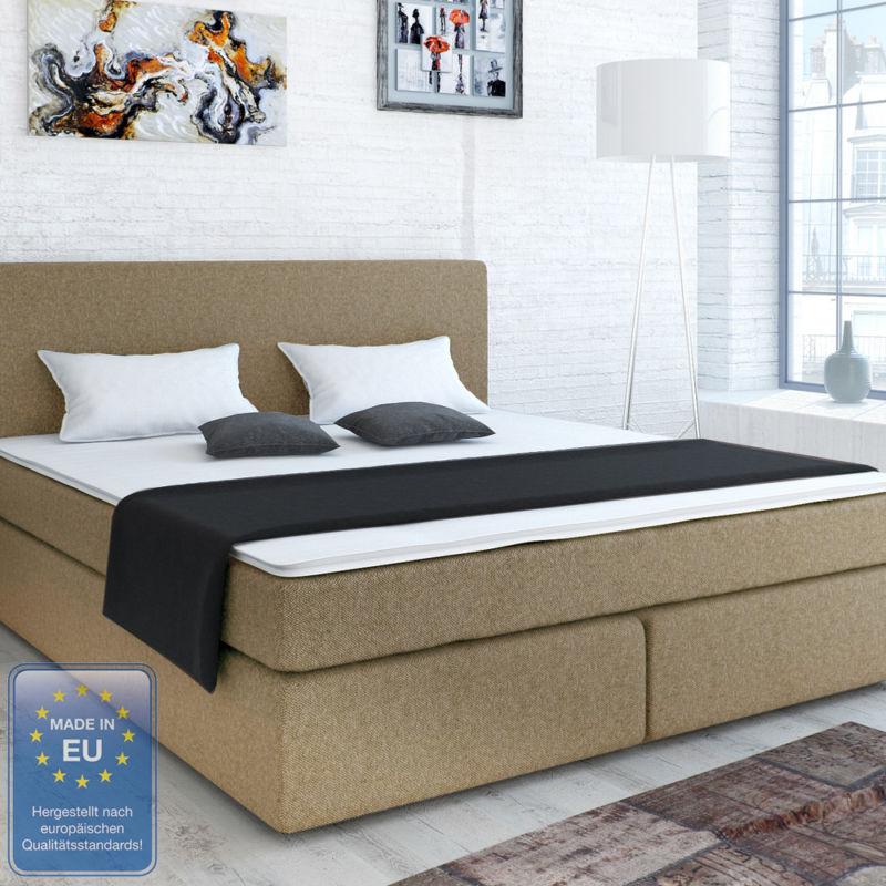 designer boxspringbett bett hotelbett polsterbett stoff beige 180x200 cm retro stuhl. Black Bedroom Furniture Sets. Home Design Ideas