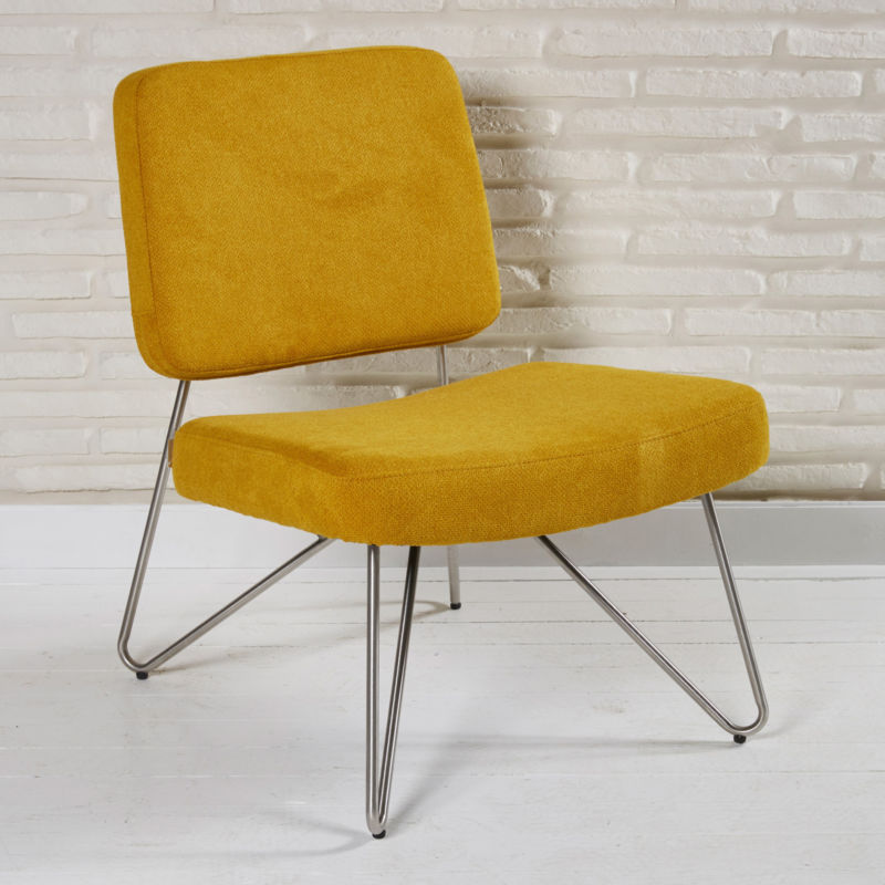 Designer lounge retro stuhl orange stoff retro sitzm bel for Design stuhl orange