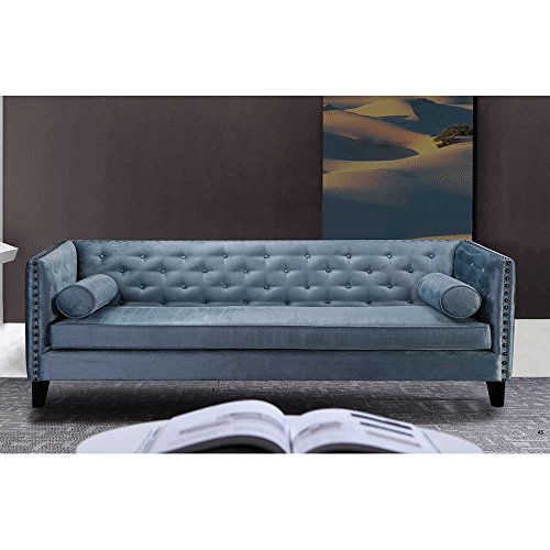 Designer Sofa in Blau Retro Design Pharao24