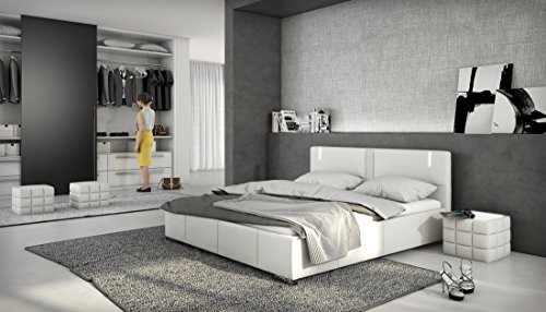 accura designerbett mit led 140x200cm bett polsterbett doppelbett kunstleder wei. Black Bedroom Furniture Sets. Home Design Ideas
