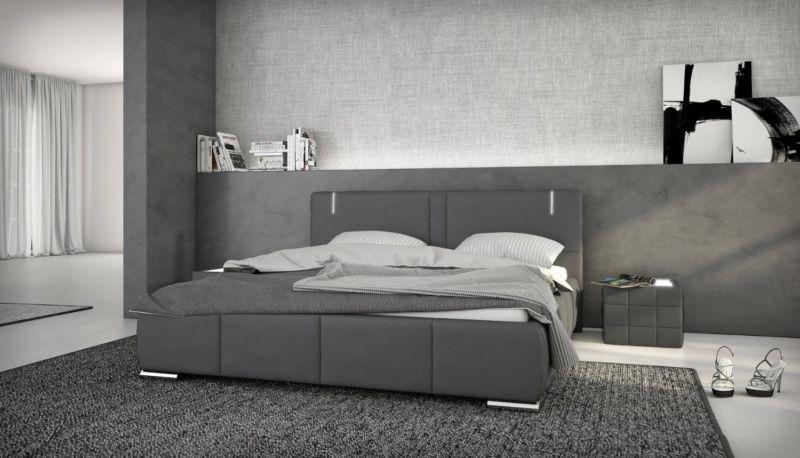 Doppelbett 140x200 Kunstleder LED Bett Polsterbett Designerbett grau Ehebett