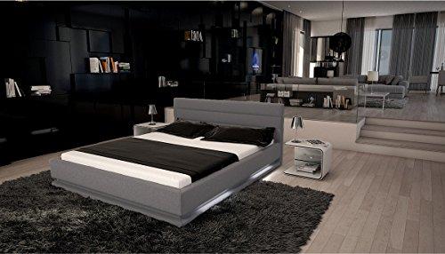 doppelbett stoff ripani 180 x 200 cm grau kopfteil mit ziern hten modernes design wasserbett. Black Bedroom Furniture Sets. Home Design Ideas