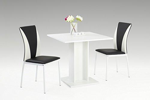 Dreams4Home Essgruppe 'Panama' 3-teilig, Tischgruppe, schwarz/weiß, Esstisch, Säulentisch,Stuhl, Küche, Esszimmer, (B/T/H) ca. 80 x 80 x 76 cm