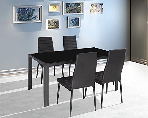 EBS® Esstisch Stuhl Set Essgruppe Tischgruppe Esstischgruppe Sitzgruppe Esszimmergarnitur: Schwarz Glas Metall Esstisch 4 Kunstleder Stuhl