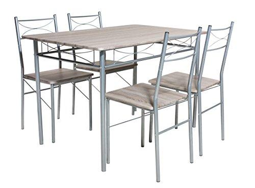 Essgruppe BERGEN 5-teilig, Stahlgestell silber, Tisch 100x65cm, Oberflächen Eiche Dekor