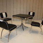 Essgruppe Retro mit 4 Stühlen Schwarz/Weiss