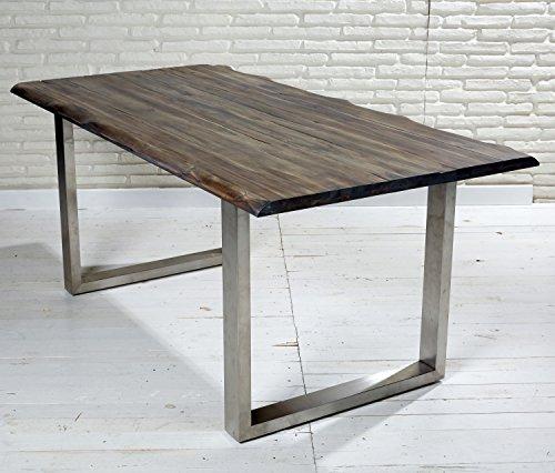 Esstisch massiv 180 90 cm akazie stahl echtholz tisch mit for Esstisch echtholz
