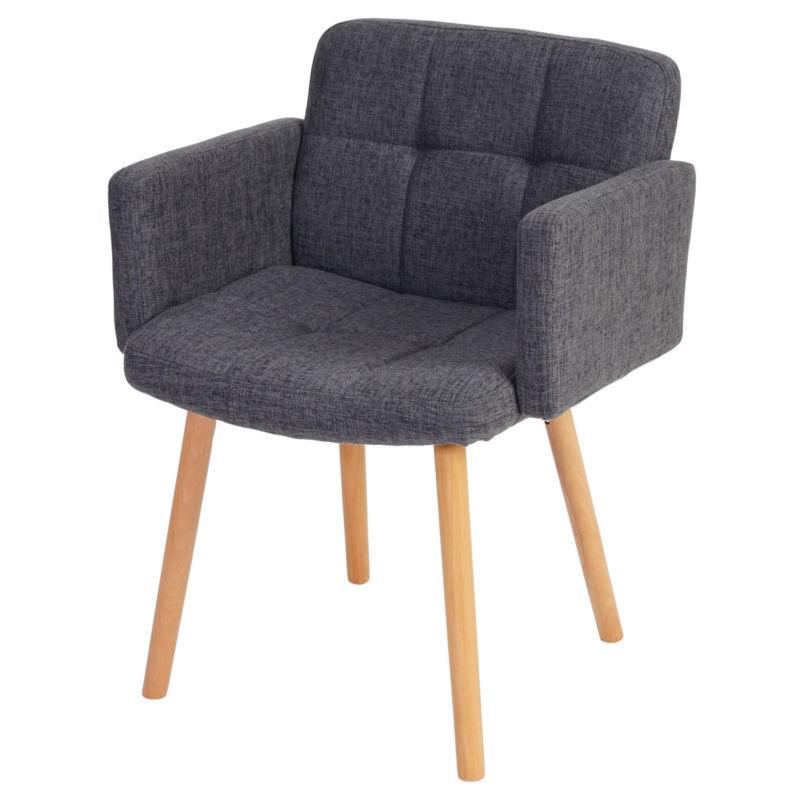 Esszimmerstuhl Houston II, Lehnstuhl, Retro-Design Textil, grau