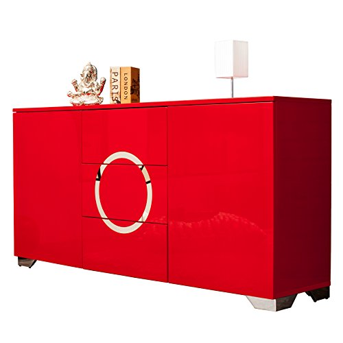 exklusives sideboard zen hochglanz rot 160 cm mit edelstahl applikationen kommode schrank. Black Bedroom Furniture Sets. Home Design Ideas