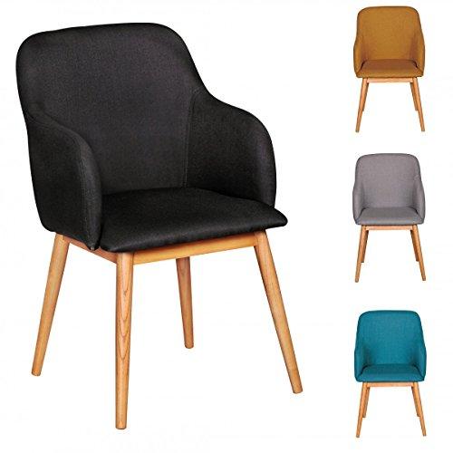 FineBuy Retro Esszimmerstuhl Polsterstuhl Stoff-Bezug Rückenlehne Design Küchen-Stuhl mit Armlehne gepolsert