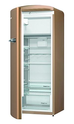 Gorenje ORB 153 CO-L Kühlschrank mit Gefrierfach / A+++ / Höhe 154 cm / Kühlen: 229 L / Gefrieren: 25 L / Braun / DynamicCooling-System / LED Beleuchtung / Oldtimer / Retro Collection