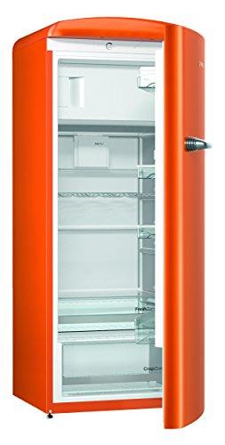 Gorenje ORB 153 O Kühlschrank mit Gefrierfach / A+++ / Höhe 154 cm / Kühlen: 229 L / Gefrieren: 25 L / Orange / DynamicCooling-System / LED Beleuchtung / Oldtimer / Retro Collection