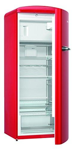 Gorenje ORB 153 RD Kühlschrank mit Gefrierfach / A+++ / Höhe 154 cm / Kühlen: 229 L / Gefrieren: 25 L / Rot / DynamicCooling-System / LED Beleuchtung / Oldtimer / Retro Collection