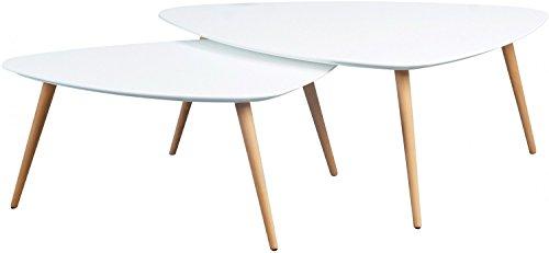 HomeTrends4You 205226 2-Satztisch, 100 x 43 x 70 cm/90 x 36 x 60 cm, weiß matt