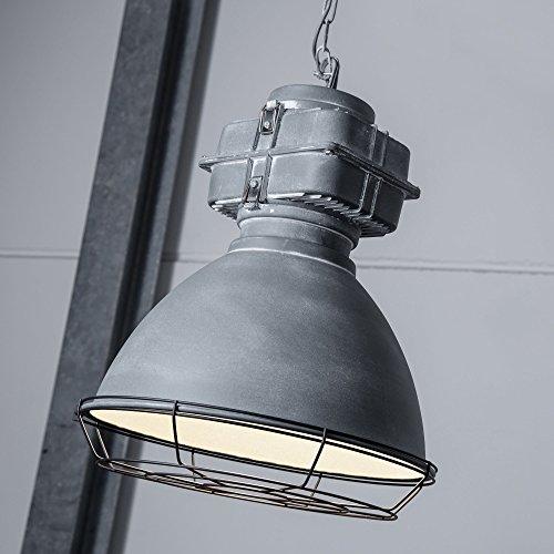Industry Vintage Design Pendelleuchte im Loft-Style lackiert, Gitterabdeckung, 1x E27 max. 60W, Metall / Glas, grau antik