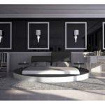 Innocent Rundbett 180x200 cm Kunstleder verstellbare Kopfstützen Evory weiß/schwarz