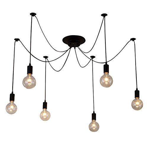 KAGU CULTURE Vintage DIY Leuchter Pendelleuchte mit 6 Licht für Bar Cafeteria Wohnzimmer Restaurant Hotel