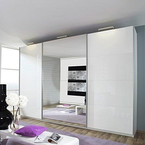 kleiderschrank beluga plus 360cm alpinwei hochglanz wei spiegel 236cm retro stuhl. Black Bedroom Furniture Sets. Home Design Ideas