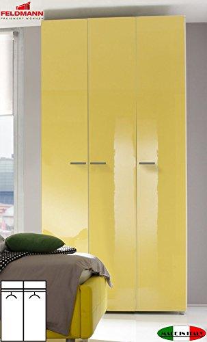 kleiderschrank schlafzimmerschrank 55050 3 t rig wei gelb hochglanz lackiert 120cm retro stuhl. Black Bedroom Furniture Sets. Home Design Ideas