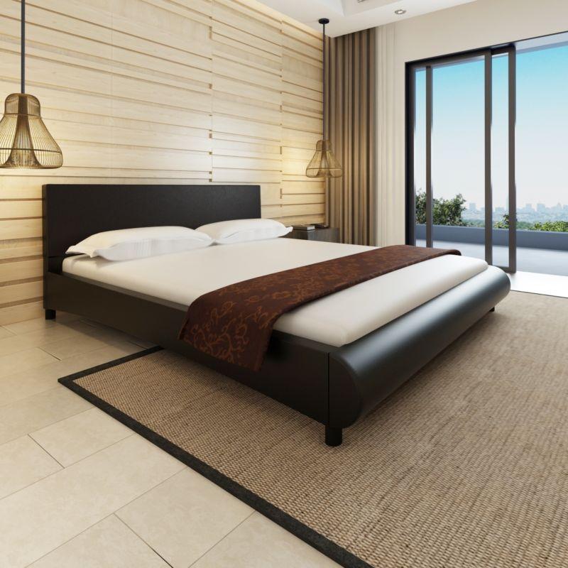 Kunstlederbett Polsterbett Ehebett Doppelbett Bogen-Design Bettgestell 180x200cm