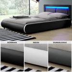 LED Polsterbett Kunstlederbett Ehebett Bett Doppelbett Designbett Bettgestell