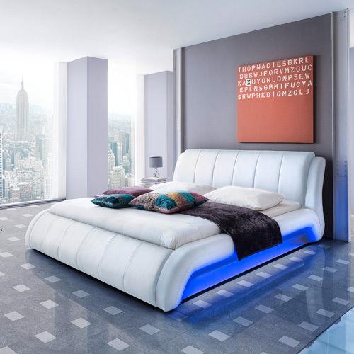 LUGANO Polsterbett Kunstlederbett Bett Futonbett Designbett - 160 x 200 cm Weiß