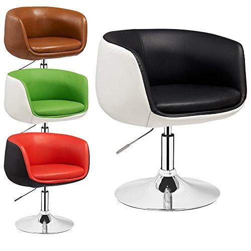 Lounge Sessel Herbert - 2 farbig - höhenverstellbar - Clubsessel - Barstuhl - Cocktailsessel - Retro Drehstuhl - viele Farben (Schwarz - Weiß)