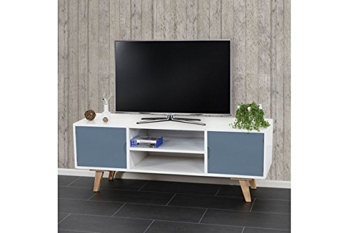 Lowboard weiß blau Fernsehtisch Skandinavisches Retro-Design TV-Rack TV-Regal
