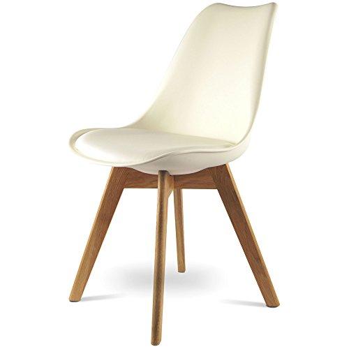 mojoliving MOJO Design Stuhl Esstischstuhl Holz Gestell in weiss WO-Sel