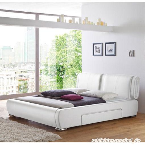 MONZA Polsterbett Kunstlederbett Bett Designerbett Design - 160 x 200 cm Weiß