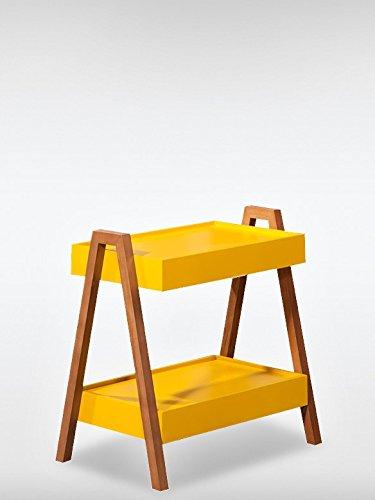 Massivholz beistelltisch couchtisch innovia gelb nussbraun for Designer tisch wohnzimmer