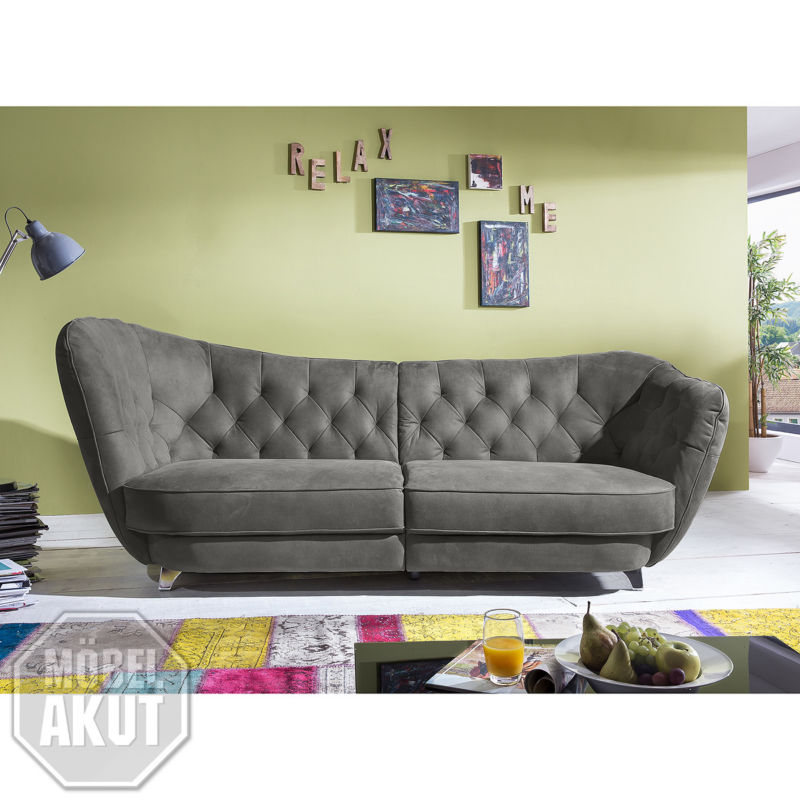 megasofa retro sofa 3 sitzer in grau vintagelook 256 cm retro stuhl. Black Bedroom Furniture Sets. Home Design Ideas
