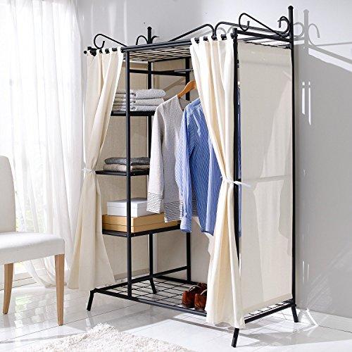 metall kleiderschrank garderobe breezy mit kleiderstange und ablagefl chen f r kleidung. Black Bedroom Furniture Sets. Home Design Ideas