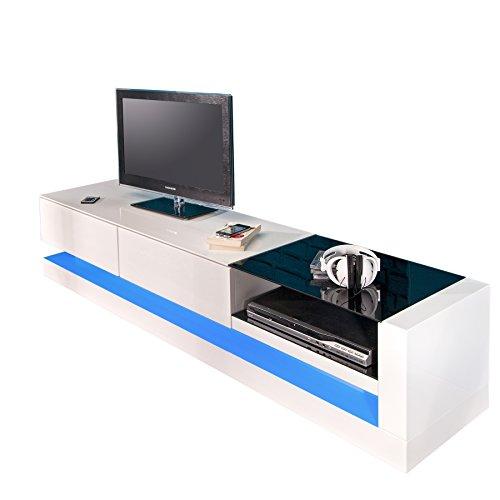 modernes tv lowboard hochglanz twist weiss inkl led farbwechsel retro stuhl. Black Bedroom Furniture Sets. Home Design Ideas