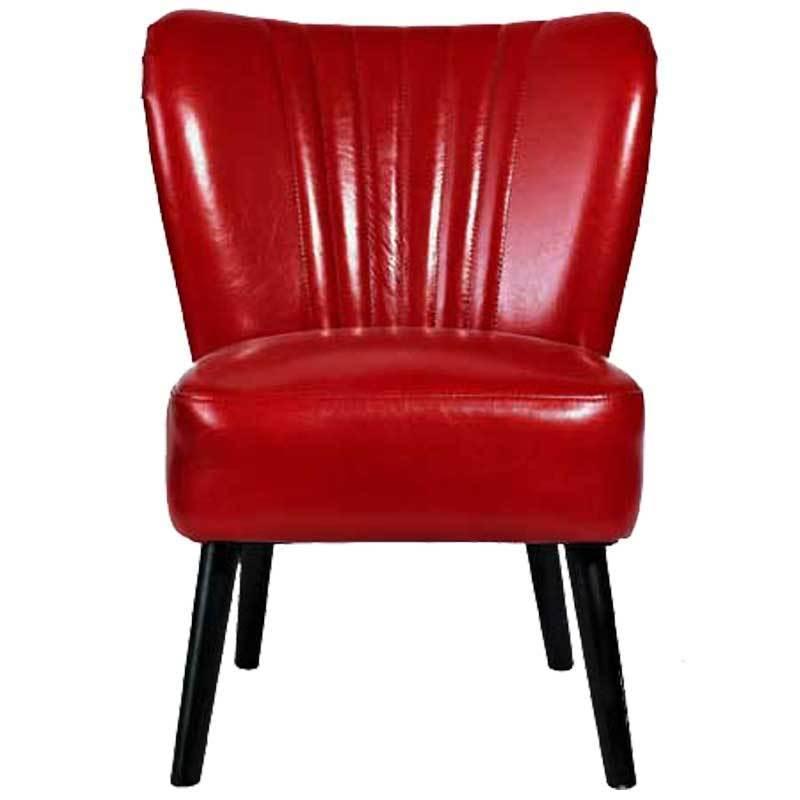 Nordal Retro Kunstleder Sessel Rot NEU N7025