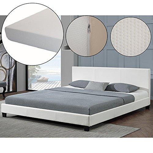 polsterbett barcelona 160 x 200 cm wei mit. Black Bedroom Furniture Sets. Home Design Ideas
