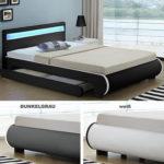 Polsterbett LED Kunstlederbett Doppelbett Ehebett Bettkasten Design Bettgestell