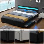 Polsterbett LED Kunstlederbett Doppelbett Ehebett Bettkasten Designbett Neu