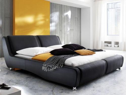 Polsterbett schwarz Bett 180x200 Bettgestell Kunstlederbett Designerbett Noel
