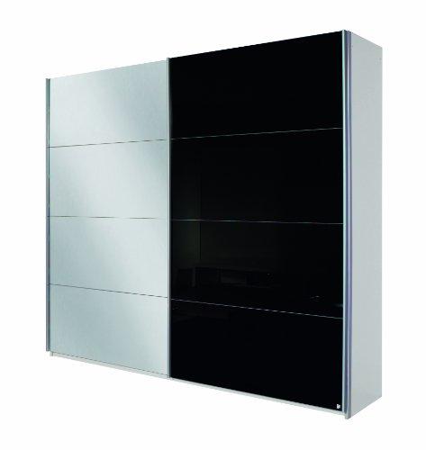 Rauch Schwebetürenschrank Quadra / 2-türig / 1 Spiegeltüre /Korpus: alpinweiß/Front: Glas schwarz / spiegel