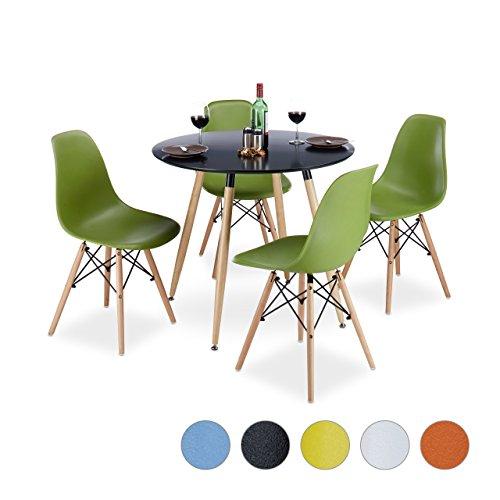 Relaxdays Design Stuhl 4-er Set ARVID, Retro Esszimmerstuhl, Schale, modern, HxBxT: 82 x 47 x 55 cm, verschiedene Farben