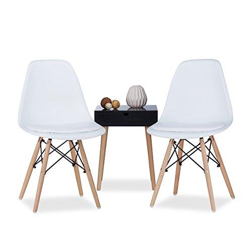 relaxdays design stuhl retro arvid mit polster 2er set wei esszimmerstuhl schale modern. Black Bedroom Furniture Sets. Home Design Ideas