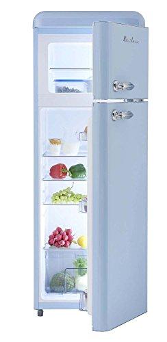 Retro Kühlschrank Hellblau Glanz A+ 208 Liter Kühl-/Gefrierkombi