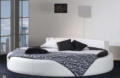 Rundes Bett CALIFORNIA in Ø 220 cm - komfortables Designerbett, weisses Spaltleder (echt Leder)